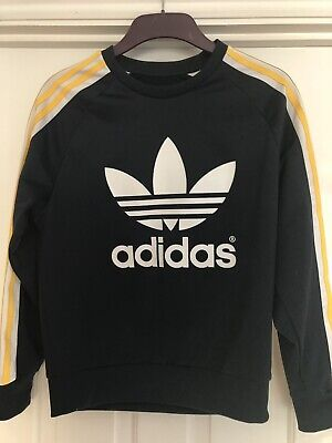 Adidas Woman Sweatshirt/Jumper Top Dark Blue & Yellow Size Uk 6 XS