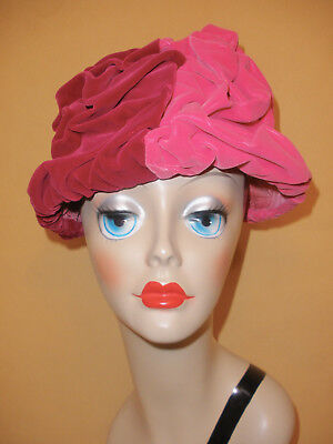 Heavily Ruched Shocking Pink & Raspberry Red Velvet Hat by Jaymyth Roy New York