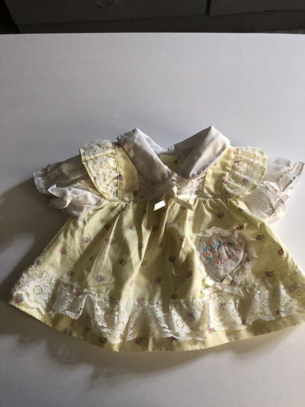 Dress Vintage Baby Bow Lace 0-3 Months Easter Yellow  Floral Mayfair 80