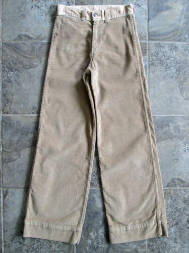 VTG Roadrunner Corduroy Pants 28x32 Khaki Tan Wide Straight Leg Cotton Hippy