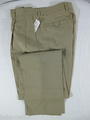 CALLAWAY Wool Nylon Blend Khaki Pleated 6 Pocket Golf Casual Pants UNHEMMED 32W (6 Pocket Wool Pants)