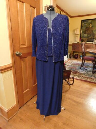 """BEAUTIFUL ROYAL BLUE """"ALEX EVENINGS"""" JERSEY MOTHER 2-PIECE GOWN OR FORMAL,S 16"""