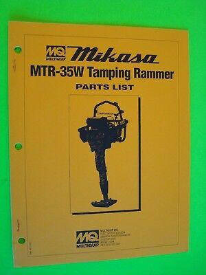 Mq Mikasa Tamping Rammer Mtr-35w Parts List  196