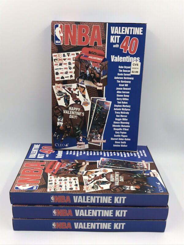 1999 Cleo NBA Valentine Kit With 40 Valentines Lot Of 4 NIB Shaq-Kobe-Duncan VTG