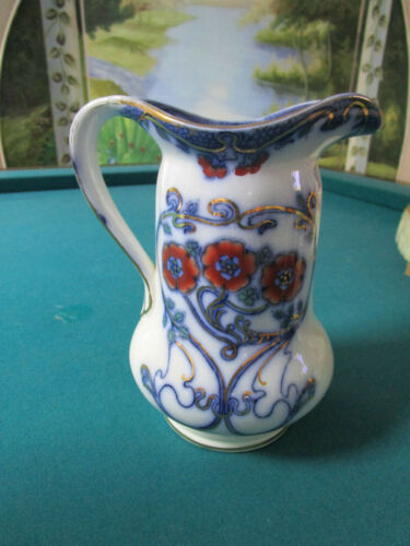 """Thomas Furnival and Sons, 1900s England FLOW BLUE PITCHER NILE PATTERN 8"""""""