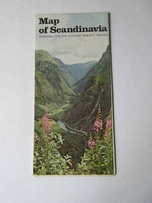 Vintage Map Of Scandinavia Denamark Finland Iceland Norway Sweden VINTAGE