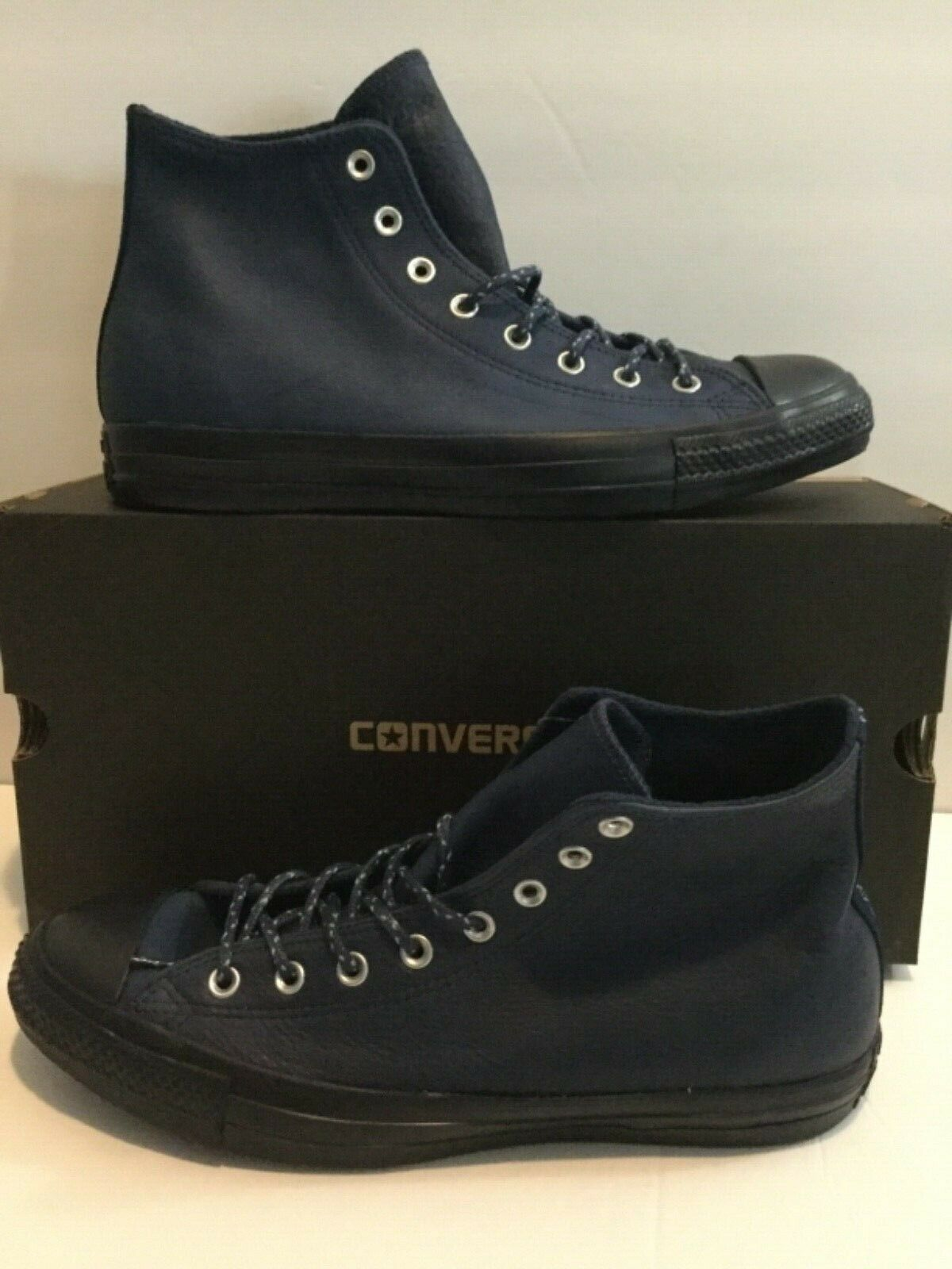 Converse CTAS Hi Shoes Navy Leather Mens Size 11.5 New