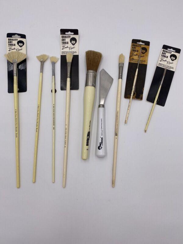 Vintage Brand New Bob Ross Oil Paint Artist Brushes & Palette Knife Lot Of 9