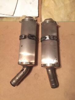 Ducati 848 Superbike standard exhaust cans.