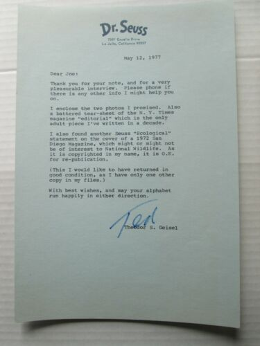 TED GEISEL, DR. SEUSS, SIGNATURE AND LETTER, PLUS TWO PHOTOS,  MAY 12, 1977