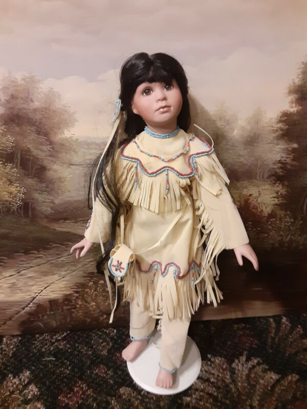 Rare Linda Mason Native American Porcelain Doll 2002, *MINTY*! complete outfit!