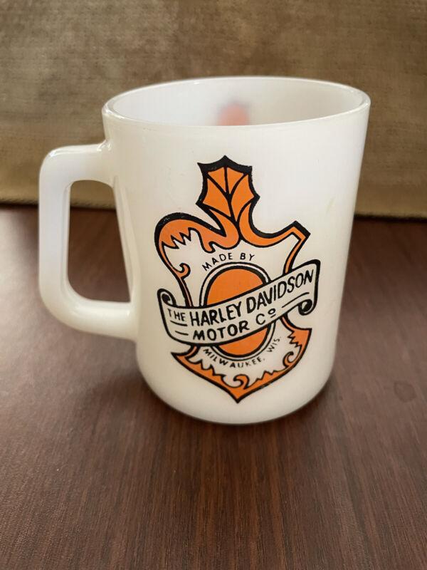 Vintage Federal Harley Davidson Mug Milk Glass