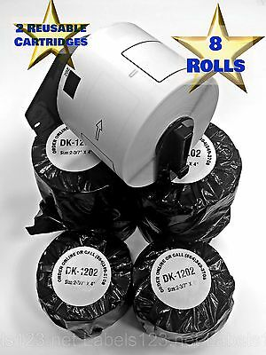 8 Rolls Of Dk-1202 Brother Compatible Labels 2 Reusable Cartridges Ql-700 Ql-710