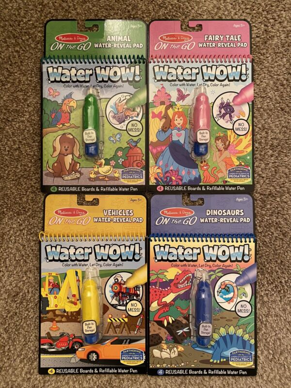 Melissa and Doug WATER WOW! LOT OF 4: DINOSAUR + ANIMALS + VEHICLES + FAIRY TALE