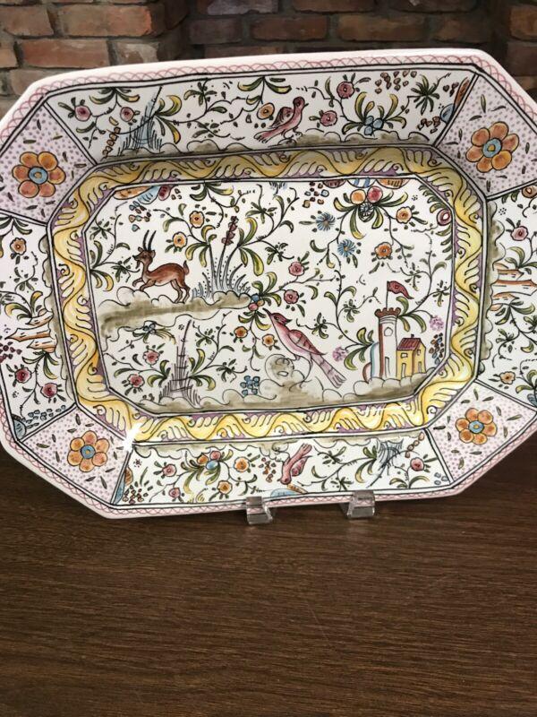 Estrela de Conimbriga Portugal Handpainted Signed Platter Plate Deer and Birds