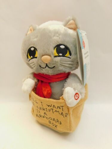 RARE Gemmy Animated Singing Cat Christmas All I want Cardboard Box Kitten VIDEO