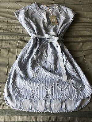 NWT Lemlem Besu Tunic /dress Large Beach Cover-Up Cotton Blue Stripe