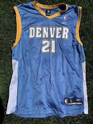 NBA Authentic Eduardo Najera Denver Nuggets Jersey Reebok Large Home White #21