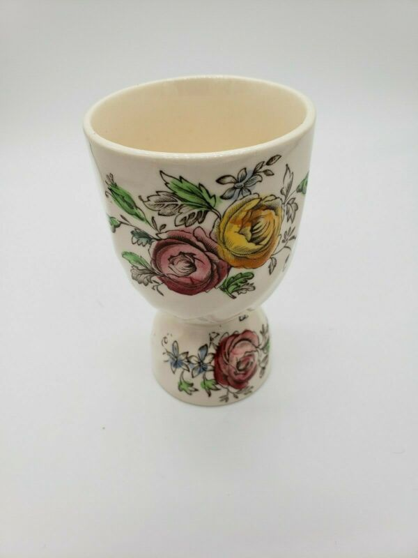 Egg Cup Vintage English Floral Design Hand Painted Double England