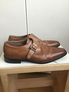 MENS 10.5 MONKSTRAP DRESS SHOES HONEY BROWN LEATHER