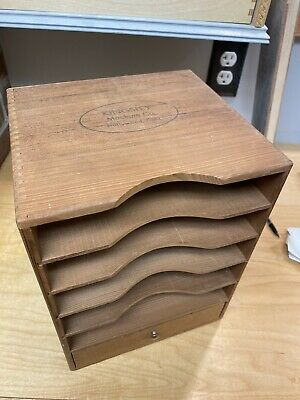 Vintage Kingsley Machine Company Wood Cabinet Type Set File Box Bottom Drawer 2