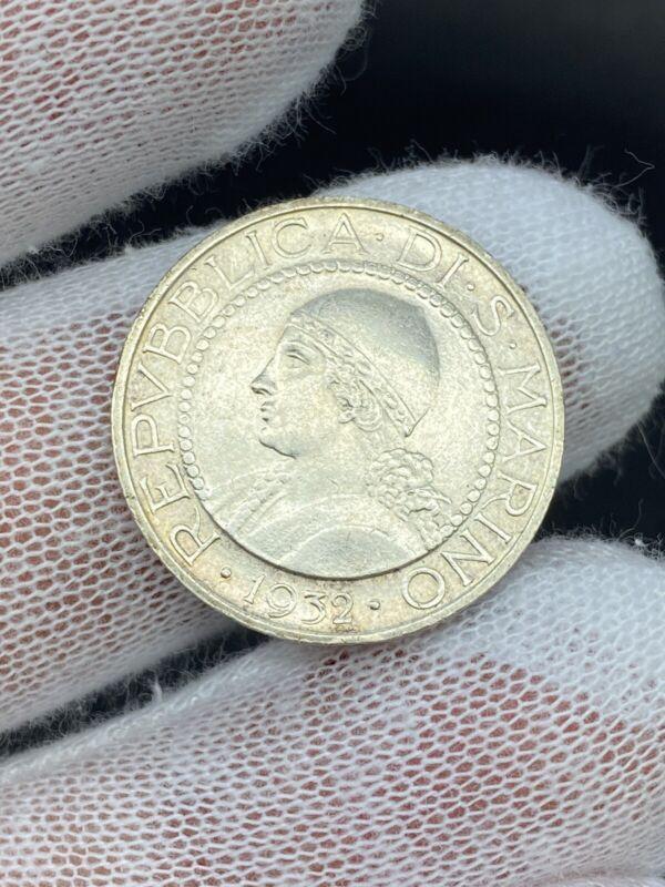 G13017 - San Marino 5 Lire 1932 R Rome KM#9 Silver Plant & Plow