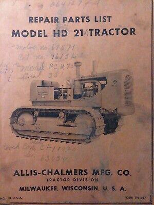 Allis Chalmers Dozer Ac Crawler Tractor Model Hd 21 Parts Catalog Manual Tpl-257