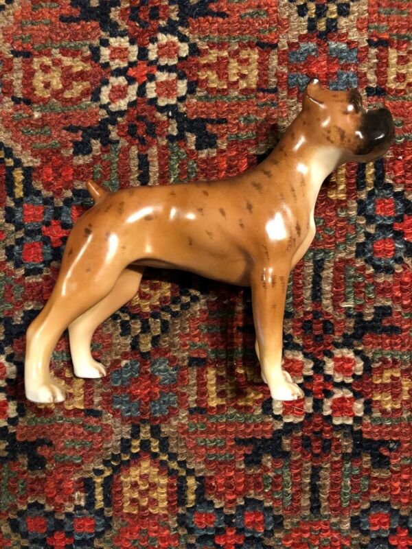 Edward Boehm Porcelain Boxer Dog Figurine Hand Painted
