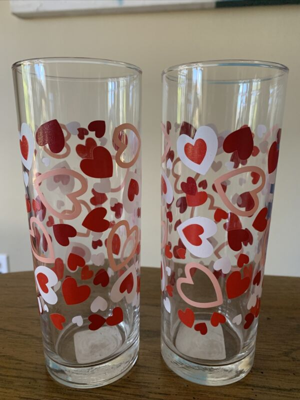 Valentines Sweethearts Drinking Glasses Set Of 2 11.8oz NWT
