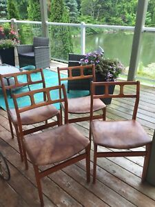 4 teak dining chairs. Mid century modern