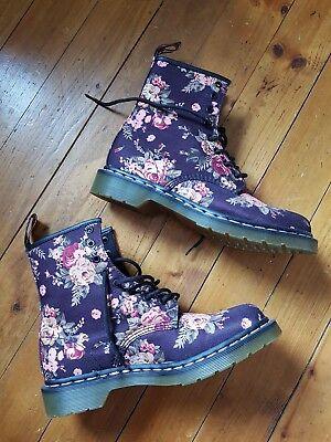 Dr Martens 42 Damen Blumen 8 Loch Stiefel Neu!!