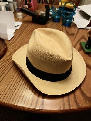 JCrew Genuine Panama Hat Natural Color With Black Ribbon Banding Size S-M