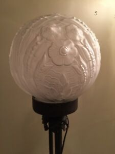 "Hand-Blown Frosted Victorian 12"" Glass Globe Vintage Lamp"