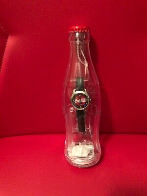 Coca Cola Watch Pulsar New Battery -Works!in a Plastic Bottle Bank Vintage 2002
