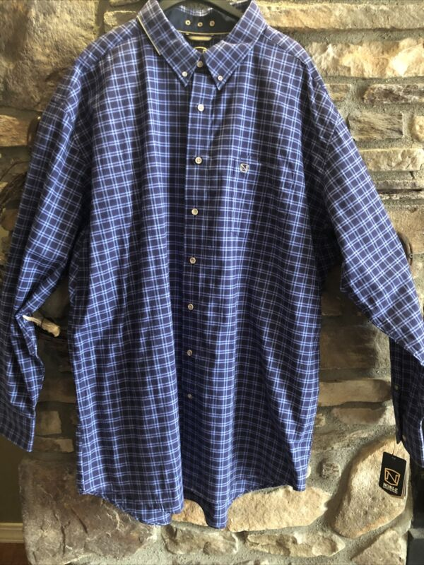 Noble Outfitters Generations Mens Long Sleeve Shirt XXL NEW dark navy plaid
