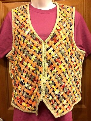 Paul Harris Design Patchwork Open Weave Khaki Sleeveless Vest Size XL](Harris Costume)
