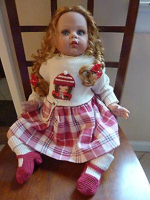 """24"""" Fayzah Spanos 1997 LE 306/750 Signed """"Heidi"""" Vinyl Doll, Red Hair Blue Eyes"""