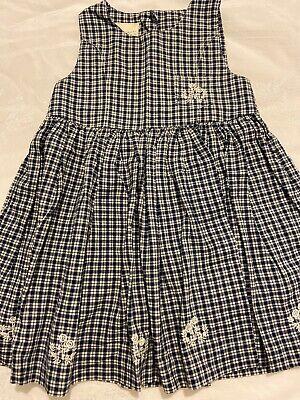 Laura Ashley Vtg Mother & Child Navy And White Plaid Baby Dress/jumper Girls 3-4