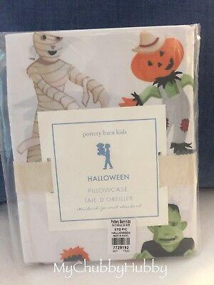 NWT Pottery Barn Kids ~HALLOWEEN~ Pillowcase (1) ~GHOSTS & SKELETONS~ *SOLD OUT*