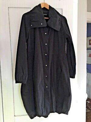 EILEEN FISHER Coat Black Funnel Collar Tulip Hem Pockets Sz M? Beautiful! GPO