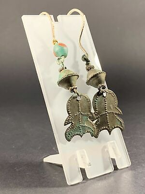 EXTREMELY RARE ANCIENT VIKING NORSE EARRINGS (PAIR) W/ TREMOLIER DESIGN C. 800AD