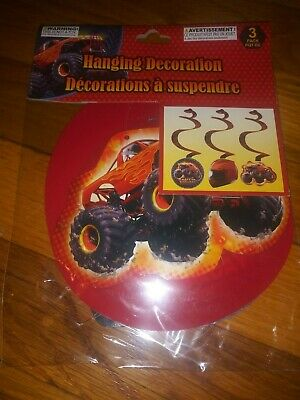 MONSTER TRUCK Hanging Decoration 3pk Racing Birthday Party Streamers Supplies - Race Party Supplies