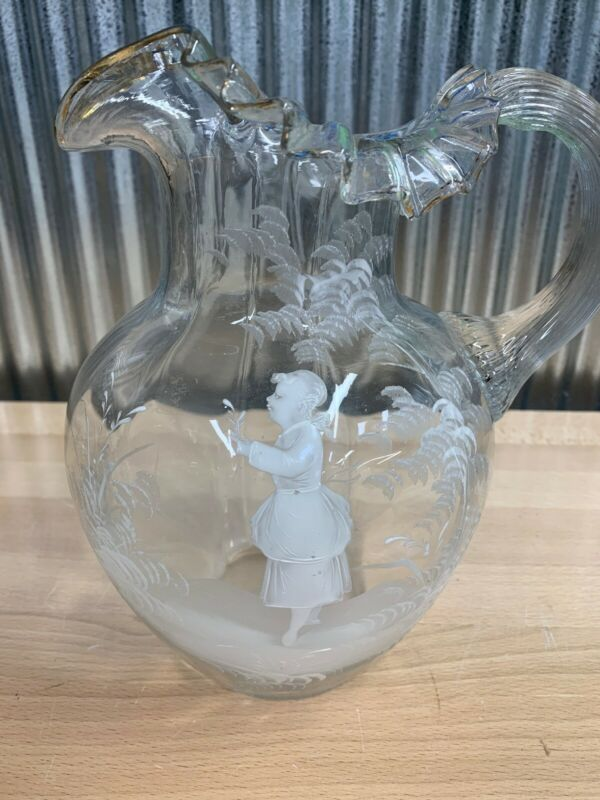 Antique Mary Gregory Blown Clear Glass Tall Pitcher Girl Child Flower
