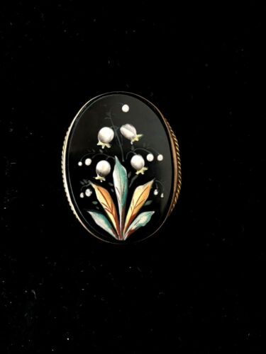 Victorian Gold Black Enamel Mourning Pendant Lily Of The Valley