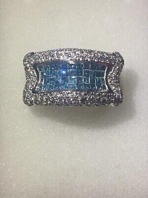 14 Kt Mens Diamond Ring Blue Princess cut 2 Ct Invisible Set Size -