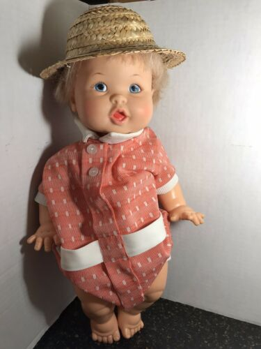Vintage Ideal 1973 16 CUTE BABY DOLL. 2 Outfits. Blonde With Blue Eyes - $15.00