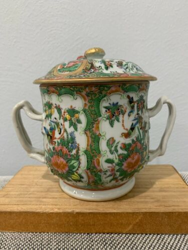 Antique Chinese Famille Rose Medallion Porcelain Wedding / Marriage Cup Mug