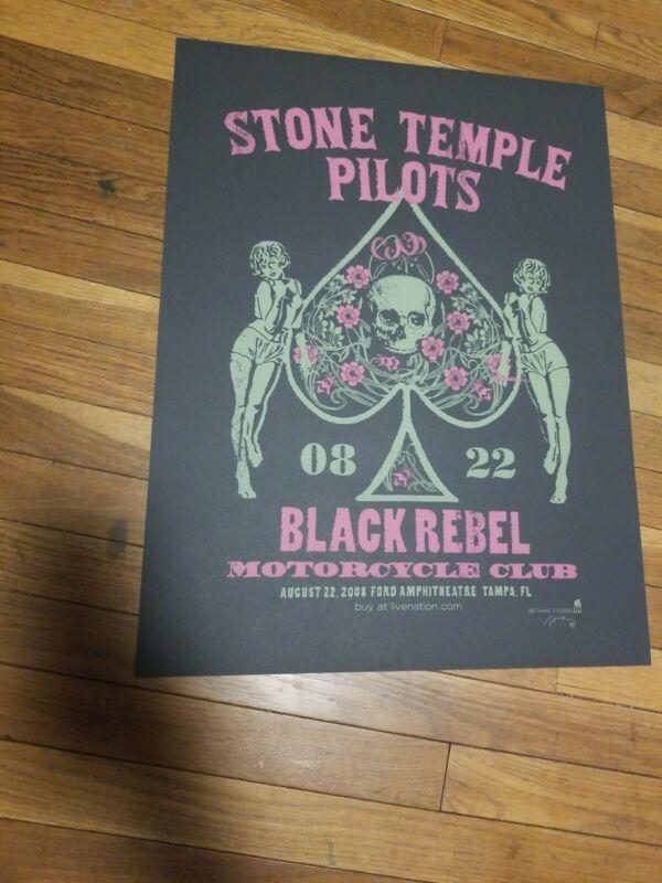 Stone Temple Pilots Black Rebel MC POSTER Tampa FL 2003 Methane MINT SIGNED AP