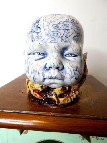 (stacy lambert baby head - 3 rattle snake cup)     pottery, folk art  5
