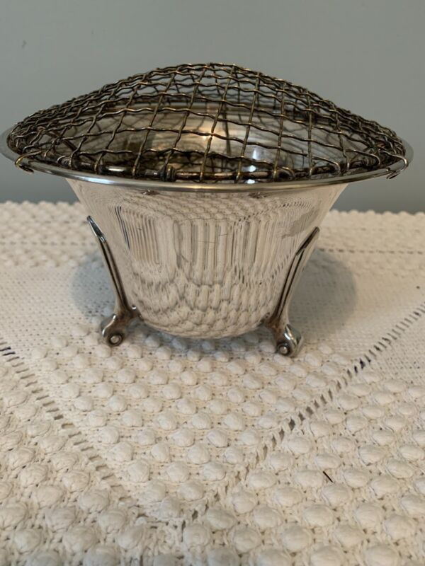 D&P Silver Plate FOOTED EPNS Bowl Vase with  SP FLOWER FROG Stamped